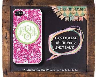 Preppy Pink Floral Monogram iPhone Case, Personalized iPhone Case, iPhone 4, 4s, iPhone 5, 5s, iPhone 5c, iPhone 6, 6S, 6 Plus, SE