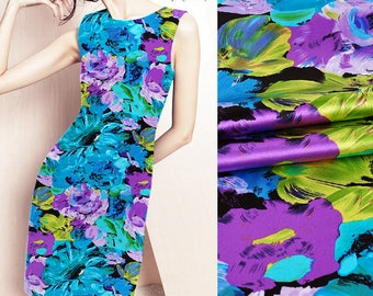 Watercolor Floral Print Stretch Silk Satin Apparel Fabric Width 42 inch