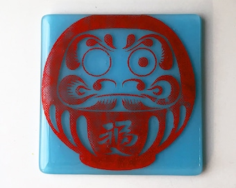 Daruma Doll Fused Glass Coaster, Daruma Coaster, Japanese Coaster