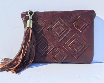 Burgundy Leather Bag, Leather Clutch, Boho Clutch, Tribal Clutch, Bohemian Clutch, Boho Leather Clutch, African Clutch, Leather African Bag