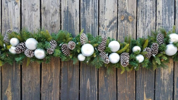 Garland, Holiday Garland, Christmas Garland, Mantel Garland, Fireplace Garland, 9 Foot Pine Garland With Pine Cones and Silver Ornaments
