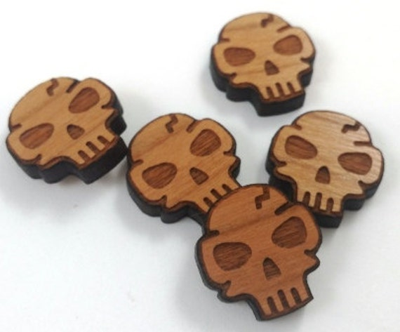 Laser Cut Supplies-8 Pieces. Skull Charms - Laser Cut Wood -Earring Supplies- Little Laser Lab Sustainable Wood Products