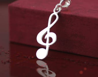 Sterling Silver Musical Necklace, Silver Treble Clef Necklace, Music Lover Necklace, Musical Note Necklace, Musical Jewelry,  Silver Treble