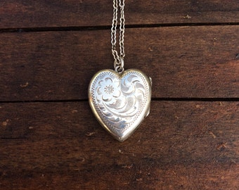 Vintage Birks Sterling Silver Floral Heart Necklace