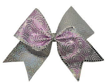 Texas Sized Tick Tock Cheer Bow With Snake Skin Silver Spandex and Holographic Spangle Bling Design