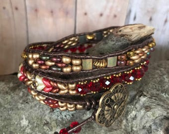 Leather Beaded Triple Wrap Bracelet - Red