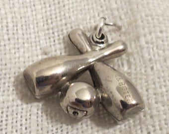 Bowling Pins and Ball 3D Sterling Silver Charm by P.&B.