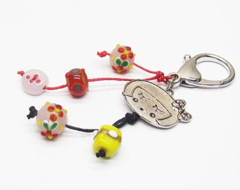 Key ring or grigri charm hello kitty and lampwork beads Pink for girl or teen