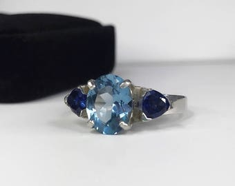 UNIQUE Blue Topaz & Trillion Sapphire Ring Sterling Silver Ring Sz 4 5 6 7 8 9 10 Trending Jewelry Gift Mom Wife Holiday December Birthstone