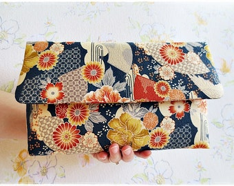Japanese kimono clutch purse, navy blue clutch purse, large clutch bag, japanese crane, evening purse