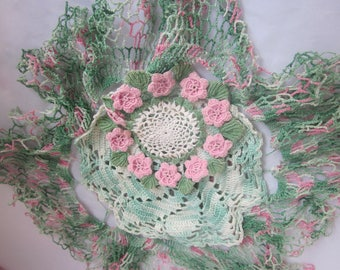 DOLLIES PINK and GREEN Shabby Colors Set of Three Color Cordinating Group