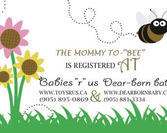 Bumble bee baby shower registry card