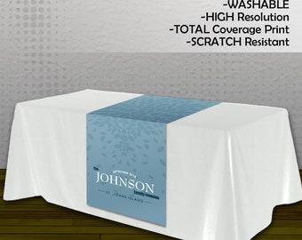 Family Reunion Table Runner - Custom Design or Use Your Own Artwork - Full Color and Full Coverage - PRINTED and SHIPPED to YOU!