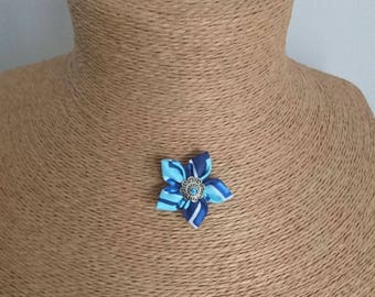 Fabric Flower necklace: Blue zigzag fabric