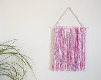 Baby Girl Nursery Wall Decor Nursery Wall Hanging Yarn Wall Hanging Pink Wall Hanging Purple Wall Hanging Nursery Mobile Yarn Art Home Decor