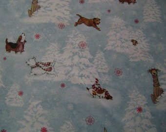 Whimsical Christmas Snow Dogs Cotton Fabric Sold by the Yard