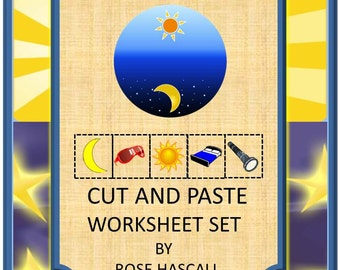 Teaching Materials, Instant Printable, Back to School,Day or Night?Cut and Paste Worksheet set PK,K,Special Education, Autism