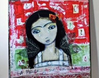La Frida y su Columna Rota - Giclee print mounted on Wood (8 x 10 inches) Folk Art  by FLOR LARIOS