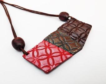 Big Bold Chunky Necklace Geometric Necklace Polymer Clay Jewelry Statement Necklace Bib Necklace Boho Jewelry