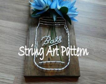 Ball Mason Jar String Art Pattern, Mason Jar String Art Pattern, Ball Jar Pattern, String Art Mason Jar Pattern, DIY Mason Jar String Art