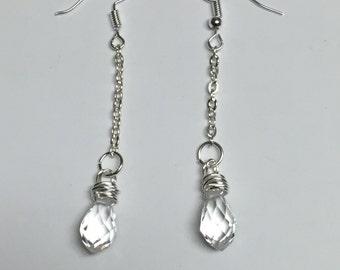 Glass Crystal Tear Drop Silver Chain Earrings