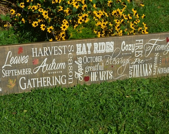 Fall Barnboard Sign Autumn Decorating Fall Decor Country Chic Decor Rustic Painted Wooden Sign Thanksgiving Decorations Farmhouse Decor