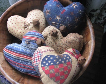Patriotic bowl fillers, patriotic, Americana, bowl fillers, 4th of July, July 4th, gift for her, hostess gift, hearts, primitive, rustic