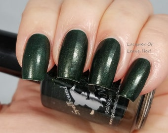 Holly Jolly - custom matte deep dark green gold shimmer nail polish