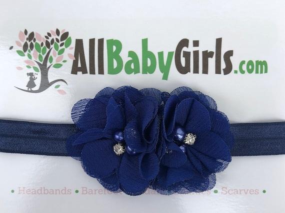 Blue Headband Baby, Infant Headbands, Baby Head Wraps, Newborn Headband, Flower Headband Baby, Headband for Babies, Baby Girl, Blue Headband