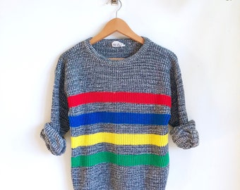 Vintage Primary Stripe Sweater / Speckled Knit Pullover / 80s Sweater