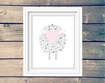 Cute Pink And Grey Sheep Nursery Print, Sweet Girl's Farm Animal Printable, Pink and Grey Nursery Art, Sheep Sign, Lamb Kid's Decor Poster