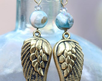 Antiqued Golden Angel Wing & Shell Earrings - FREE SHIPPING