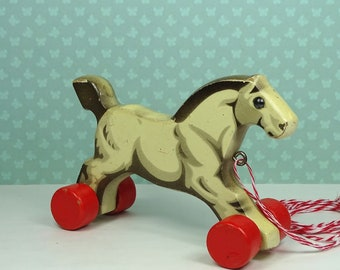 Vintage Verhofa horse pull toy 1940s 1950s wooden