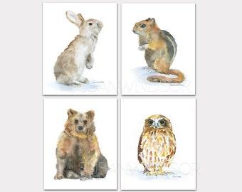 Woodland Watercolor Animal Art Prints Nursery Childrens Room Set of 4 - Rabbit, Chipmunk, Bear, Owl PORTRAIT-Vertical Orientation