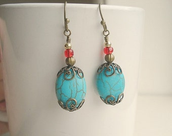 Turquoise Brass Earrings Southwest Earrings Blue Red Earrings Brass Turquoise Beaded Earrings