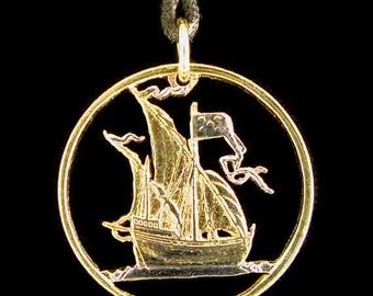 Cut Coin Jewelry - Pendant - Portugal - Sailing Ship