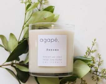 SONOMA •• soy candle, natural candle, spa candle,  Agape Candles