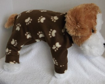 SMALL brown with beige paw prints fleece lounge wear