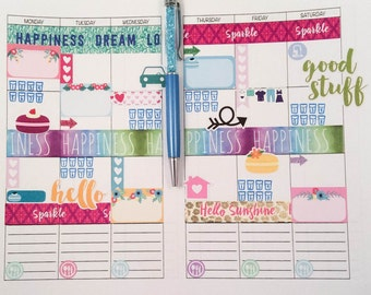 """the """"Melanie"""" 21 Weeklies on two pages Planner Insert/ Cashier size /Midori Insert/ Travelers Notebook Insert/ Weekly Planner"""