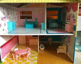 Metal tin dollhouse split level Reduced