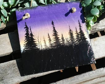 Rustic Home Decor. Country Decor. Personalize. One of a kind Original painting. Tree silhouette on slate
