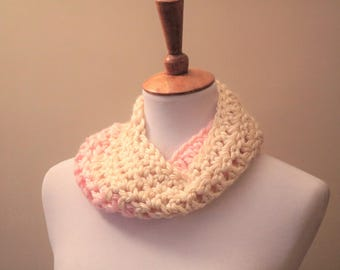 Pink & Cream Child's Cowl | Child's Scarf | Pink | Cream | Cowl Style | Toddler Cowl |