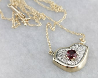 Modern Ruby Lips Necklace, Diamond and Ruby Necklace, Anniversary Gift 80AZ1X-R