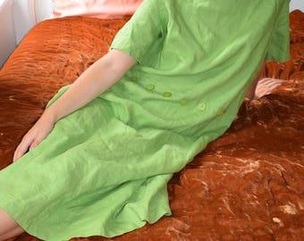 Grass Green Linen Oversized Dress