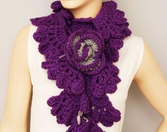 Purple crochet  ruffle scarf, long crochet scarf