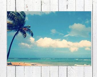 Blue Ocean Wall Art Photography | Large Minimalist Art | Blue Modern Beach House Decor | Ocean Wall Art Print | Turquoise Beach Decor Print