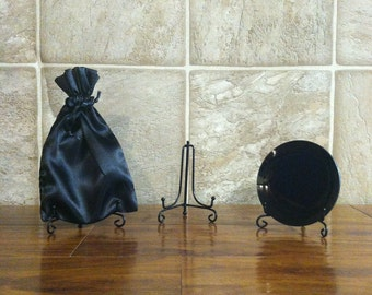 Concave Black Scrying Mirror with Stand and Satin Pouch -  Small Travel Size