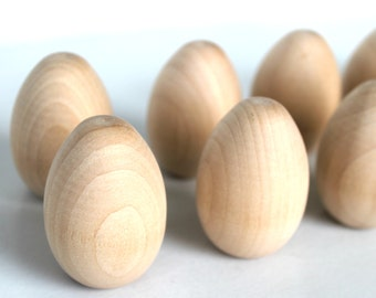 12  Wooden Pullet Eggs | 2 inch Wooden Eggs | Unfinished Wood Eggs | DIY Wood Eggs| Box 24