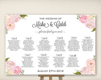 Wedding Seating Chart, Table Seating Plan, Wedding Sign, Find Your Seat, Guest List, Sweet Elegant Flowers, Cheap DIY Printable PDF (SC1)