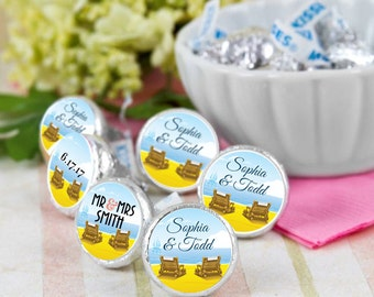 108 Beach Chair Hershey Kiss® Stickers - Hershey Kiss Stickers Wedding - Personalized Hershey Kiss Labels - Wedding Favors